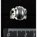 Кольцо из гематита, ажурная оправа, цвет серебро, сеттинг овал 14х10мм, безразмерное