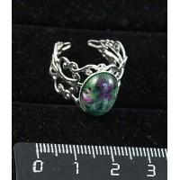Кольцо с цоизитом, овал 14х10мм, ажурная оправа, цвет серебро, безразмерное