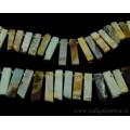 Бусины из амазонита пластинки 10*30мм, 40см, 31 бусина