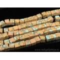 Бусины из варисцита (иск.) кубик 11-12мм, цвет  персиковый, 38,5см, 33 бусин