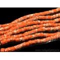 Бусины из варисцита (иск.) кубик 6мм, цвет  оранжевый 39.5см, 64 бусины