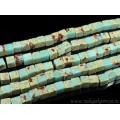 Бусины из варисцита (иск.) кубик 9-10мм, цвет  голубой, 39см, 38 бусин