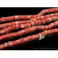 Бусины из варисцита (иск.) кубик 9-10мм, цвет  красный, 39см, 38 бусин