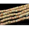 Бусины из варисцита (иск.) кубик 9-10мм, цвет  персиковый, 38см, 38 бусин