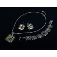 Комплект: кулон, браслет и серьги из гелиотиса в металле, квадрат, узор греческий