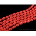 Бусины из кахолонга искусственного тонированного тыковка 10*14мм, цвет красный, 40см, 28 бусин