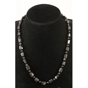 Бусы из турмалина черного (кристаллы) и агата черного (шарик 6мм)