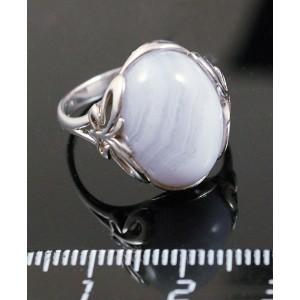 C925 Кольцо серебро агат голубой (сапфирин) овал 16х12мм р-р 18.5