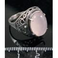 C925 Кольцо серебро кварц розовый (нат.) овал 14х10мм р-р 18