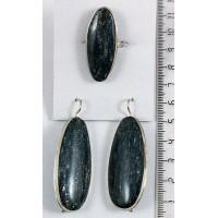 Кольцо и серьги из авантюрина черного (уткинит) овал 45х18мм р-р 18-20