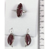 Кольцо и серьги из эвдиалита, листик 19х10мм р-р 17-18