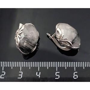 C925 Серьги серебро кварц-волосатик овал 16х12мм огранка англ. замок