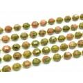 Бусины унакит шарик с гранями 9мм, 18см, полнити