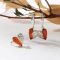 Гарнитур посеребрение 2 пр: серьги, кольцо, сердца, цвет коньячный