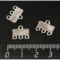 """Коннектор """"волны"""", 1+3 петельки, 12х10мм, цвет ант. серебро"""