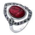 Кольцо коралл (иск.) синт., марказит серебрение