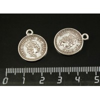 """Подвеска """"монета"""" двусторонняя 20х16мм, цвет ант. серебро"""