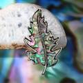 Броши гелиотис листик, цвет зелёный
