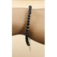 Браслет из турмалина черного (шерл), шарик 4мм огранка, на застежке