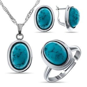Комплект: кольцо, серьги, кулон бирюза синт. овал 14х10мм