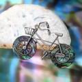 Броши гелиотис велосипед, цвет зелёный