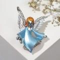 """Брошь """"Ангелок"""", цвет бело-голубой, цвет серебристый"""