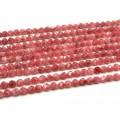 Бусины из кальцита тонированного многогранник 6мм, цв.клубничный 37см, 62 бусины
