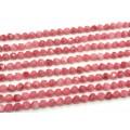 Бусины из кальцита тонированного многогранник 9мм, цв.клубничный 38см, 40 бусин