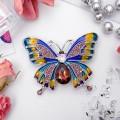 """Брошь """"Бабочка переливница"""", цветная, цвет серебристый (стразы, эмаль)"""