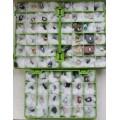 Коллекция минералов и горных пород, 72 образца в 3 коробках 26х18см, ячейка 4см