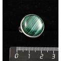 Кольцо с малахитом, круг 18мм, безразмерное