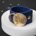 """Браслет кожа """"Диск"""" с кольцом, цвет синий, цвет золотистый"""