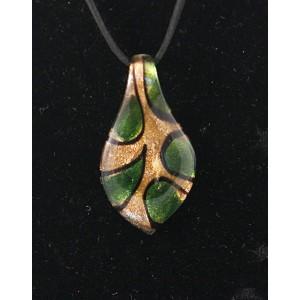 """Кулон муранское стекло """"Лист""""  62*34 мм, цвет зеленый"""