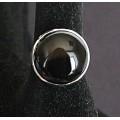 Кольцо c агатом черным, круг 18мм, безразмерное
