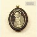 """Кулон """"Икона Святой преподобный Серафим""""овальный с окантовкой обсидиан"""