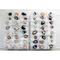 Коллекция минералов и поделочных камней 48 образцов 10-20мм, в 2 коробках 19х12см