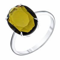 Кольцо серебро С925 с фианитом дымчатым (под раухтопаз), 2,02 г, родиум, овал 14х10мм р-р 18