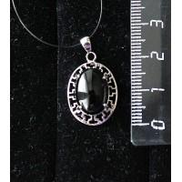 Кулон из оникса черного, родиум, греческий