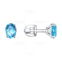 Серьги серебро С925 с топазом голубым, 1,29 г, родиум, огранка, овал 6х4мм, замок пусеты