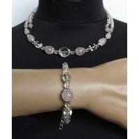 Комплект: колье и браслет на проволоке из кварца розового и горного хрусталя