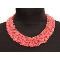 Колье из бисера плетение цв.розовый с золотом 45см