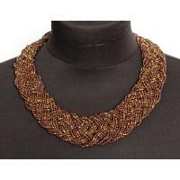 Колье из бисера плетение цв.шоколад с золотом, 45см