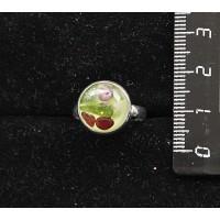 Кольцо с хромдиопсидом и гранатом (кабошон-мозаика), круг 12мм, безразмерное