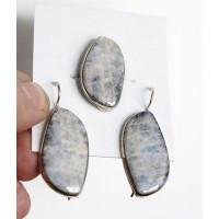 Кольцо и серьги из лунного камня, волна 31х16мм р-р 18-20