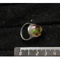 Кольцо с хромдиопсидом и гранатом (кабошон-мозаика), овал, 18х13мм, литая оправа, родирование