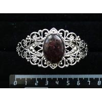 Браслет из граната (кабошон-мозаика), овал 25х18мм, жесткая основа, цвет ант.серебро