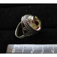 Кольцо из хризолита и граната (кабошон-мозаика), овал, 18х13мм р-р 19