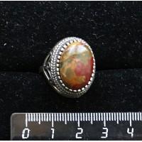 Кольцо с яшмой пикассо, овал, 18х13мм р-р 19