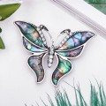 Брошь гелиотис бабочка летящая, цвет зеленый