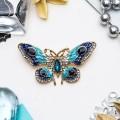 """Брошь """"Бабочка"""" павлиний глаз, цвет сине-бирюзовый, цвет золотистый"""